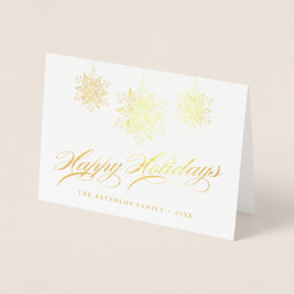 Personalized Fancy Ornaments Happy Holidays Foil Card