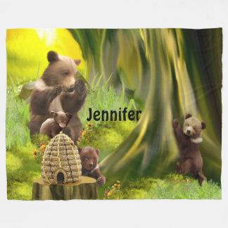 Personalized Fantasy Bear Family Fleece Blanket