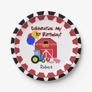 Personalized Farm 1st Birthday Paper Plates 7 Inch Paper Plate