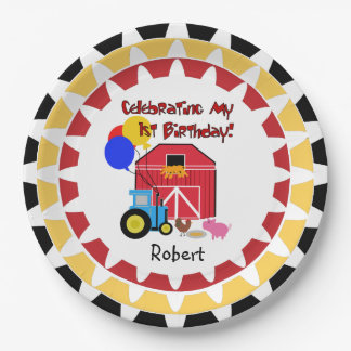 Personalized Farm 1st Birthday Paper Plates 9 Inch Paper Plate