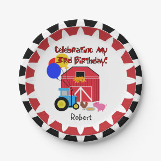 Personalized Farm 3rd Birthday Paper Plates 7 Inch Paper Plate