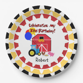 Personalized Farm 3rd Birthday Paper Plates 9 Inch Paper Plate