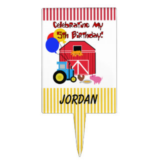 Personalized Farm 5th Birthday Cake Topper