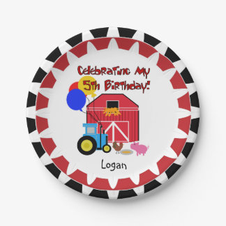 Personalized Farm 5th Birthday Paper Plates 7 Inch Paper Plate
