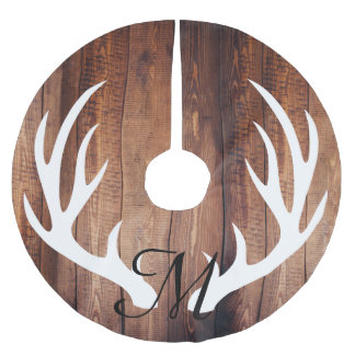 Personalized - Farmhouse Wood Planks Deer Antlers Brushed Polyester Tree Skirt