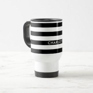 Personalized Fashion Luxury Black and white stripe Travel Mug