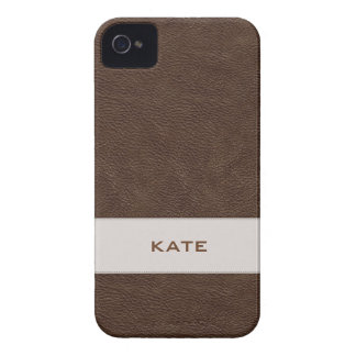 Personalized Faux Brown Leather iPhone 4 Case-Mate Cases