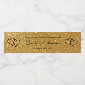 Personalized faux gold glitter wedding party favor water bottle label