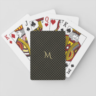 Personalized Faux Gold Monogram Check Stripe Poker Poker Deck