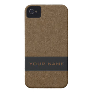 Personalized Faux Light Brown Leather Case-Mate iPhone 4 Case