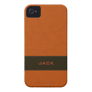 Personalized Faux Orange Leather Case-Mate iPhone 4 Cases