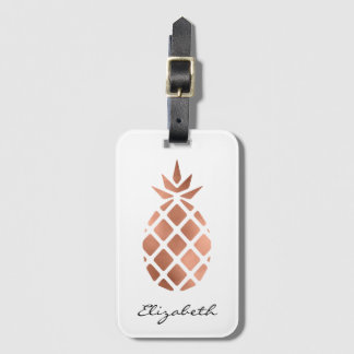 Personalized faux rose gold foil pineapple bag tag