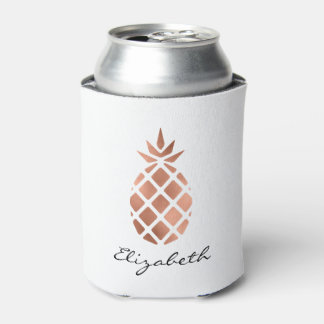 Personalized faux rose gold foil pineapple can cooler