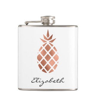 Personalized faux rose gold foil pineapple flasks