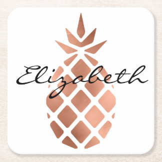 Personalized faux rose gold foil pineapple square paper coaster