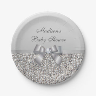 Personalized Faux Silver Sequins Bow Baby Shower 7 Inch Paper Plate