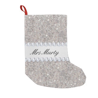 Personalized Faux Silver Sequins Diamonds Small Christmas Stocking