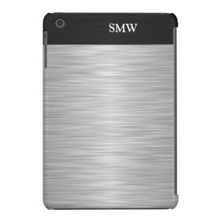 Personalized Faux Stainless Steel and Black iPad Mini Cases