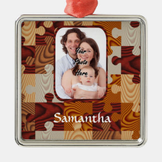 Personalized faux wood jigsaw christmas ornament