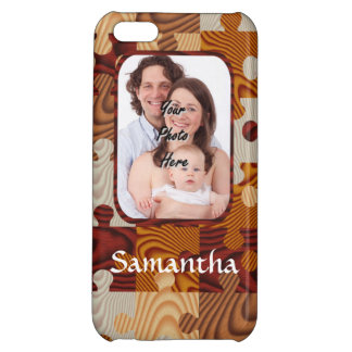 Personalized faux wood jigsaw iPhone 5C case