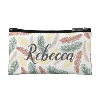 Personalized feather cosmetic bag. Bridesmaid gift Cosmetic Bag