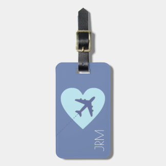 personalized feminine blue love airplane travel luggage tag