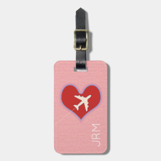 personalized feminine love airplane travel luggage tag