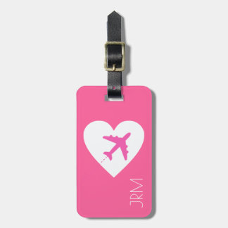 personalized feminine pink love airplane travel luggage tag