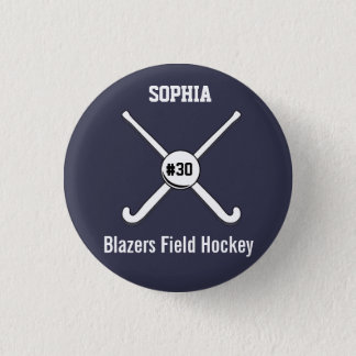 Personalized Field Hockey Team Name Jersey Number 3 Cm Round Badge