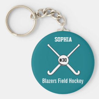 Personalized Field Hockey Team Name Jersey Number Basic Round Button Key Ring