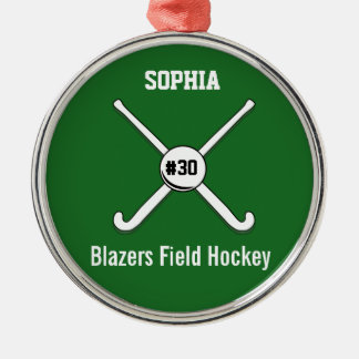 Personalized Field Hockey Team Name Jersey Number Silver-Colored Round Decoration