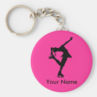 Personalized Figure Skater Key Chain - Bright Pink