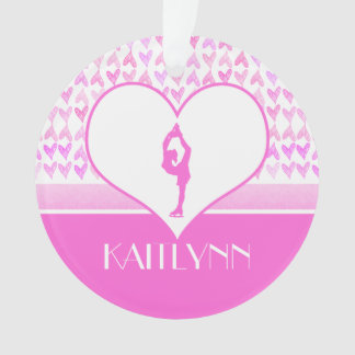 Personalized Figure Skater Pink Watercolor Hearts