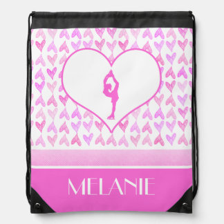 Personalized Figure Skater Pink Watercolor Hearts Drawstring Bag
