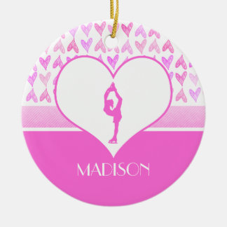 Personalized Figure Skater Pink Watercolor Hearts Round Ceramic Decoration