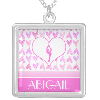 Personalized Figure Skater Pink Watercolor Hearts Square Pendant Necklace