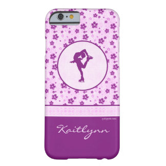 Personalized Figure Skater Purple Heart Floral Barely There iPhone 6 Case