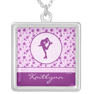 Personalized Figure Skater Purple Heart Floral Silver Plated Necklace
