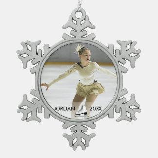 Personalized Figure Skating Skater Name Christmas Pewter Snowflake Decoration