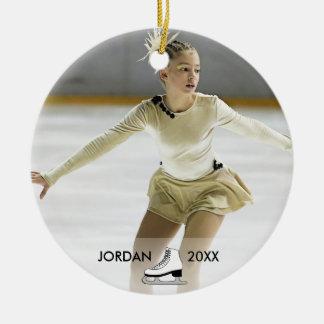 Personalized Figure Skating Skater Name Christmas Round Ceramic Decoration