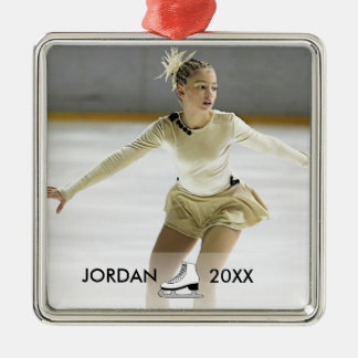 Personalized Figure Skating Skater Name Christmas Silver-Colored Square Decoration