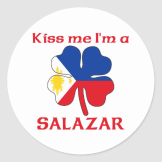 Personalized Filipino Kiss Me I'm Salazar Round Sticker
