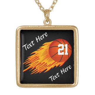 Personalized Fire Basketball  Necklaces for Girls
