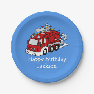 Personalized Fire Truck Boy's Birthday 7 Inch Paper Plate