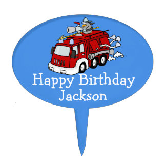 Personalized Fire Truck Boy's Birthday Cake Toppers