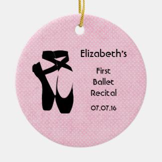 Personalized First Ballet Recital Keepsake Round Ceramic Decoration