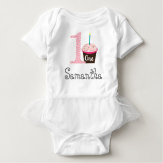 Personalized First Birthday Cupcake Baby Bodysuit
