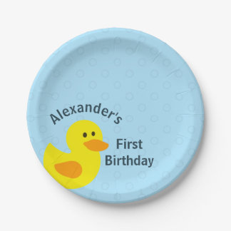Personalized First Birthday Little Yellow Ducky 7 Inch Paper Plate