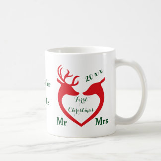 Personalized First Christmas Married Heart Deer Coffee Mug