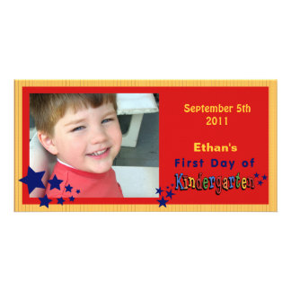 Personalized First Day of Kindergarten Custom Photo Card Template